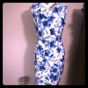 NWT Calvin Klein blue and white floral midi dress